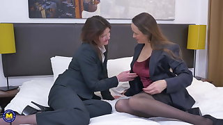 Two mature mothers try lesbian sex