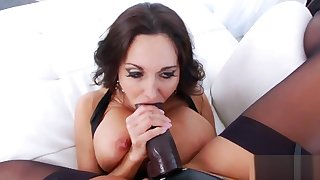 Lesbo bombshells open up their deep anals and penetrate big dildos