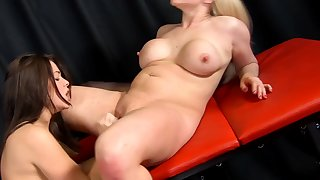 MILF pornstars Ava Dalush with the addition of Victoria Summers playing with a dildo