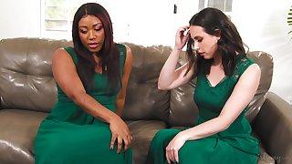 Interracial lesbian sex on slay rub elbows with sofa - Casey Calvert & Chanell Main ingredient
