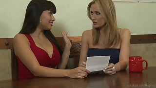 Shyla Jennings teases her give someone a thrashing friend Angela Sommers and they have sex