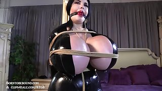 Femdom with order about busty brunette pornstar - tied and gagged