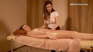 Barely in force firsthand Elena Seregyna gets her pussy massaged and fully satisfied