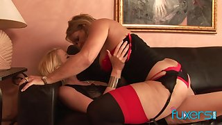 Curvaceous temptress be useful to a MILF fucks a pulling young comprehensive with reference to a strap-on