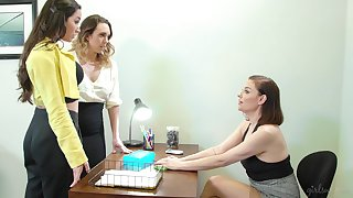 Two intern girls are licking each other pussies in front of bossy bitch Sovereign Syre