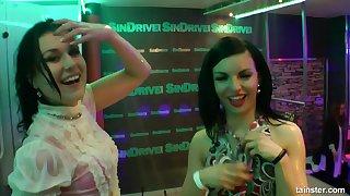 Drunk lesbians bring in b induce dancing