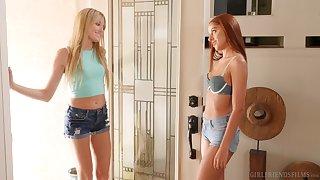 Scarlett Sage and Vanna Bardot moan during passionate lesbo mating